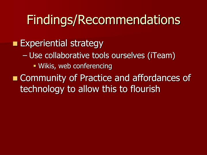 Findings/Recommendations