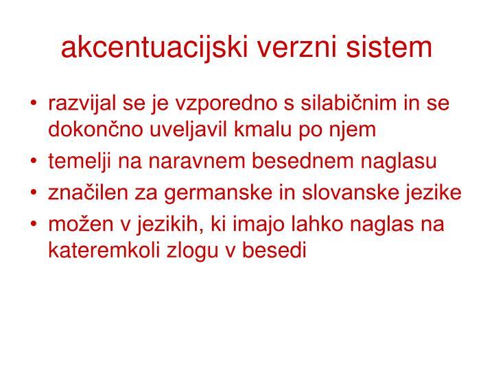 akcentuacijski verzni sistem