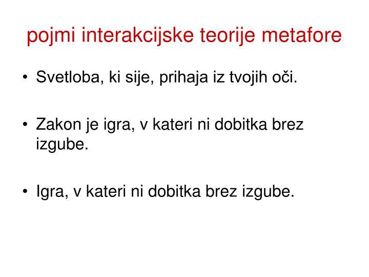 pojmi interakcijske teorije metafore