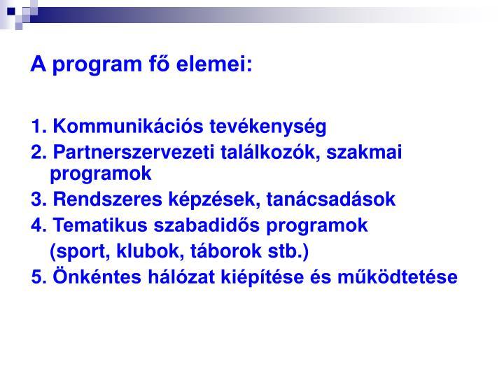 A program fő elemei: