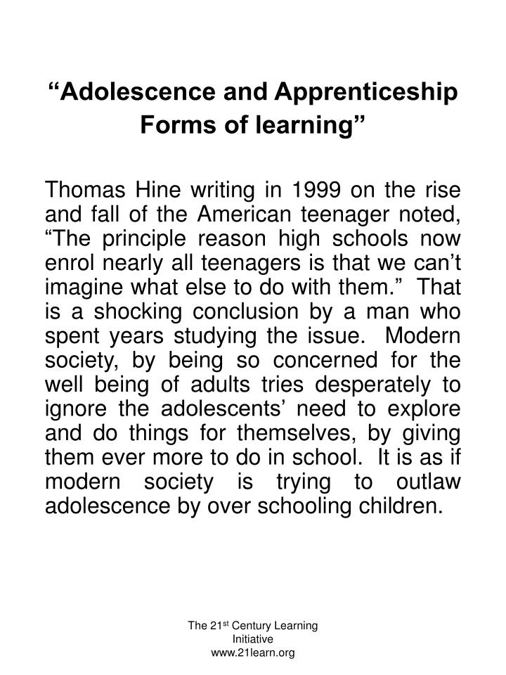 """Adolescence and Apprenticeship"