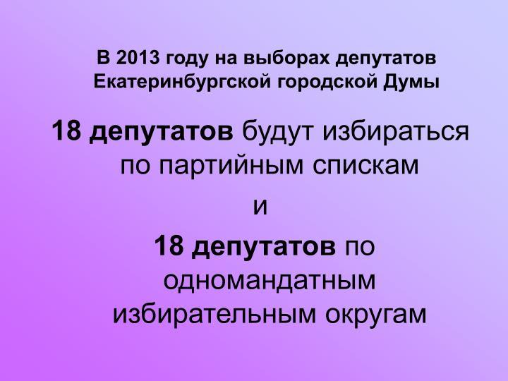 В 2013 году на выборах депутатов Екатеринбургской городской Думы