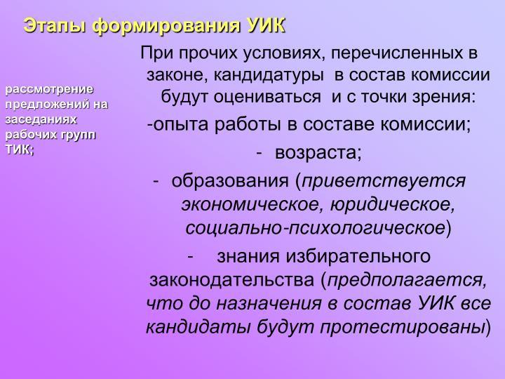 Этапы формирования УИК