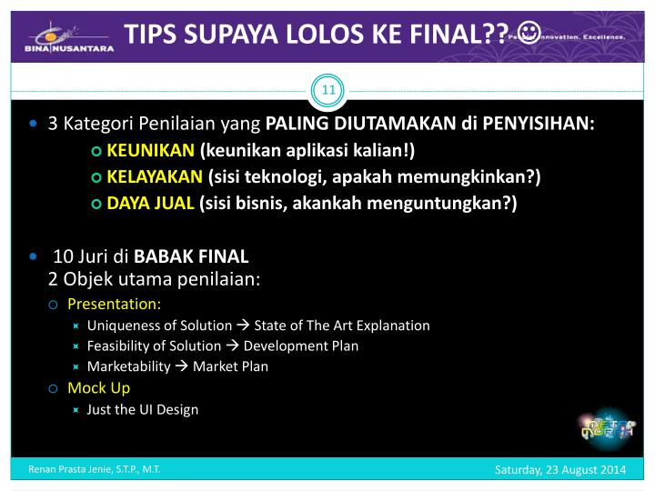 TIPS SUPAYA LOLOS KE FINAL??
