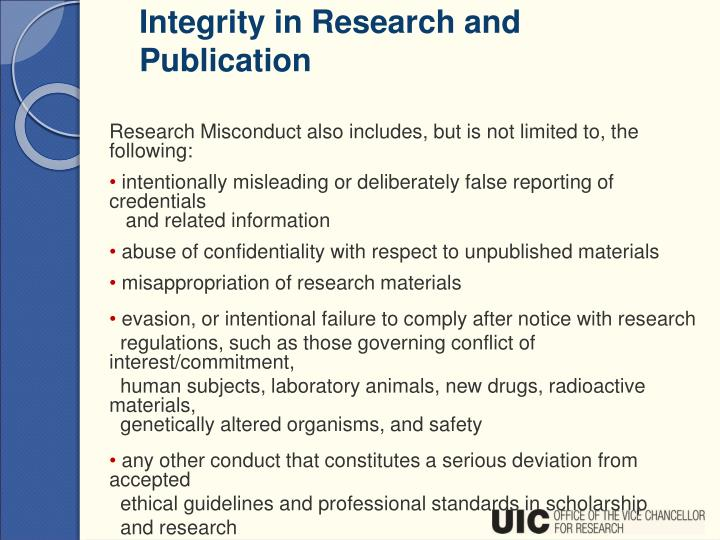 Integrity in Research and Publication