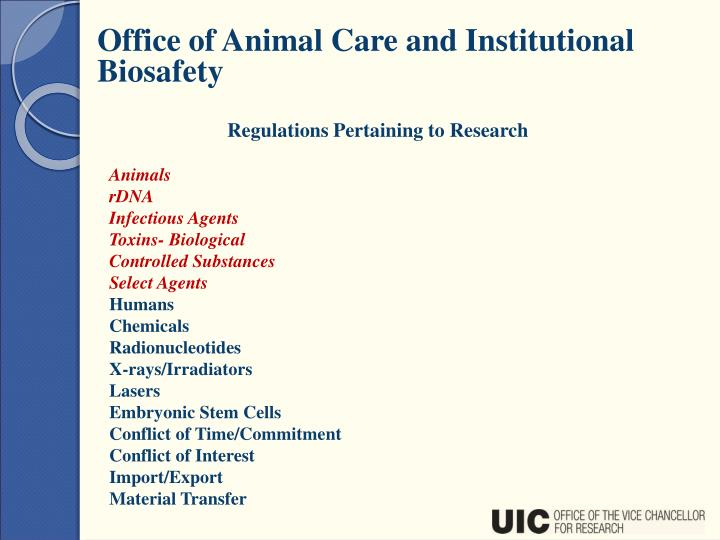 Office of Animal Care and Institutional Biosafety