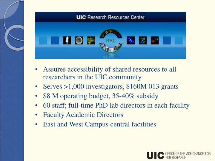 Assures accessibility of shared resources to all researchers in the UIC community