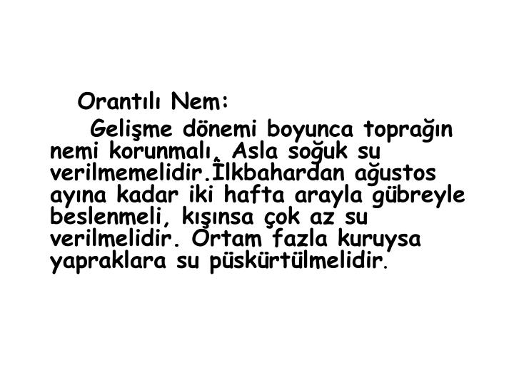 Orantılı Nem: