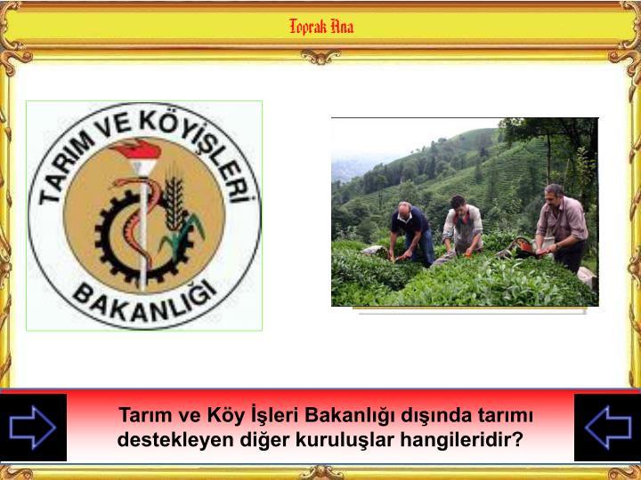 Bu destekler ile Tarım ve Köy İşleri Bakanlığı