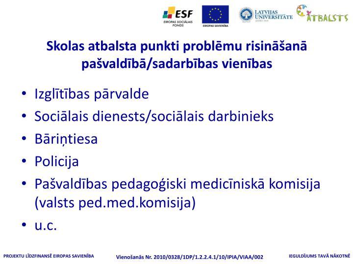 Skolas atbalsta punkti problēmu risināšanā pašvaldībā/sadarbības vienības