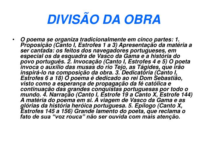 DIVISÃO DA OBRA