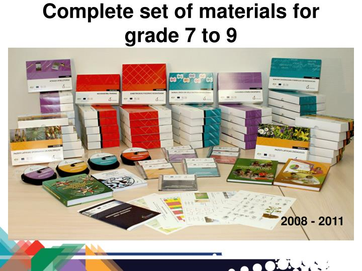 Complete set of materials for grade 7 to 9