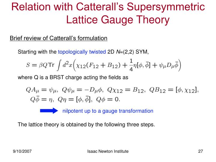Relation with Catterall's Supersymmetric Lattice Gauge Theory
