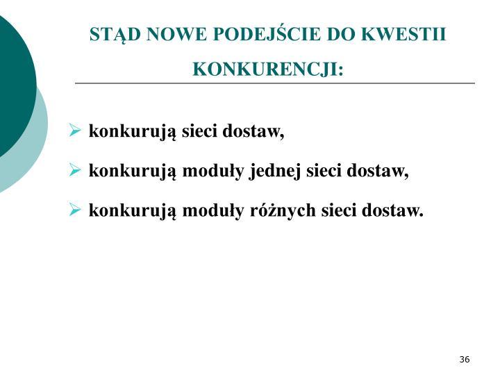 STD NOWE PODEJCIE DO KWESTII KONKURENCJI: