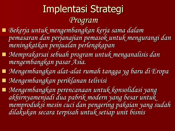 Implentasi Strategi