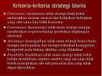 kriteria kriteria strategi bisnis