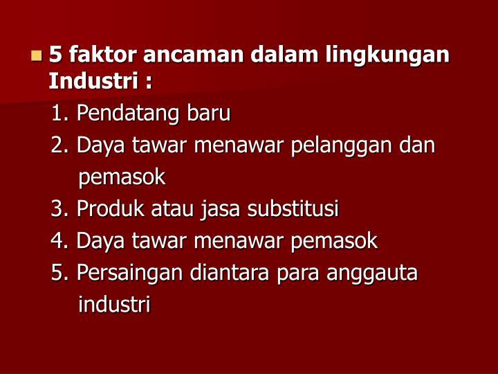 5 faktor ancaman dalam lingkungan Industri :