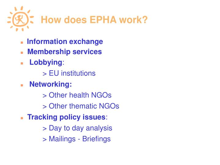 How does EPHA work?