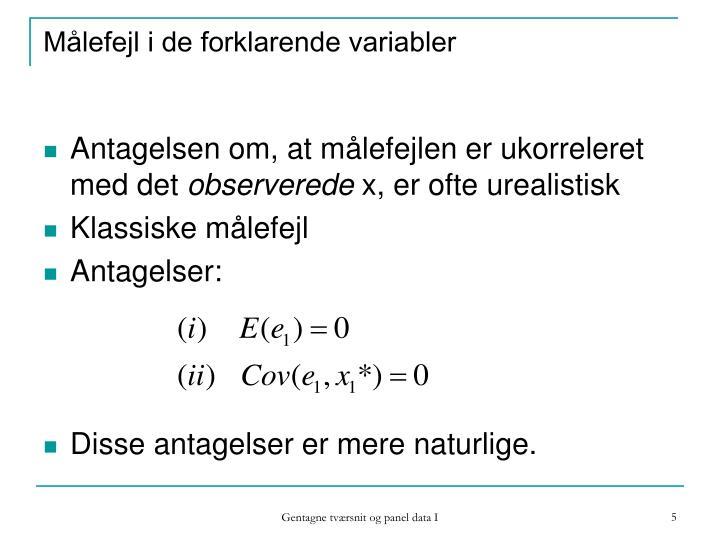 Målefejl i de forklarende variabler
