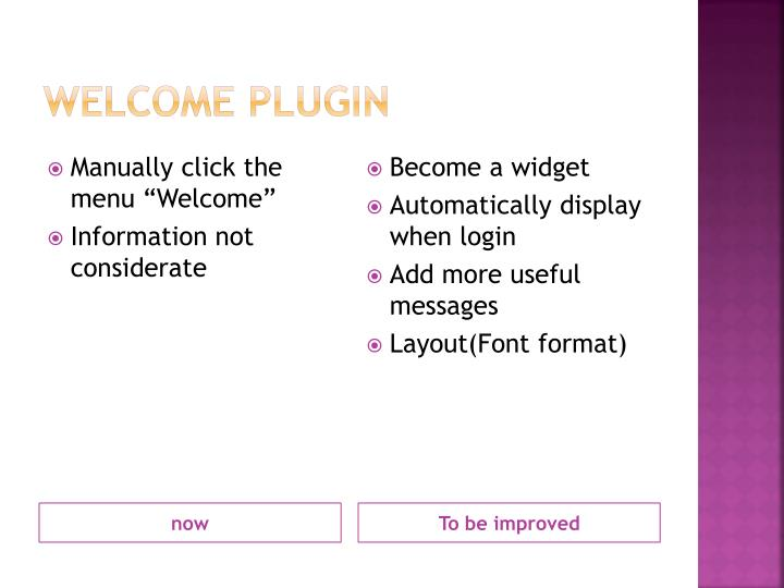 Welcome plugin