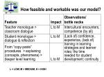 how feasible and workable was our model