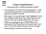 lisa s experience interview with a recall procedure 4 2007