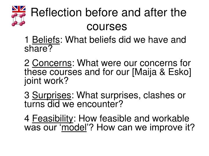 Reflection before and after the courses