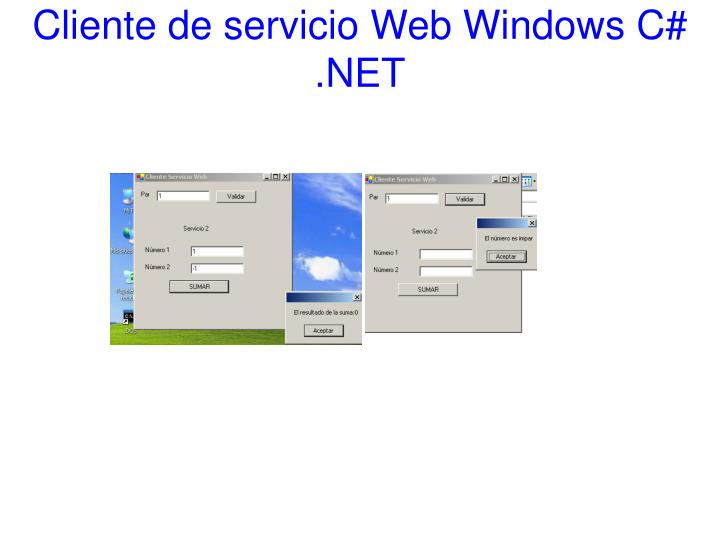 Cliente de servicio Web Windows C# .NET