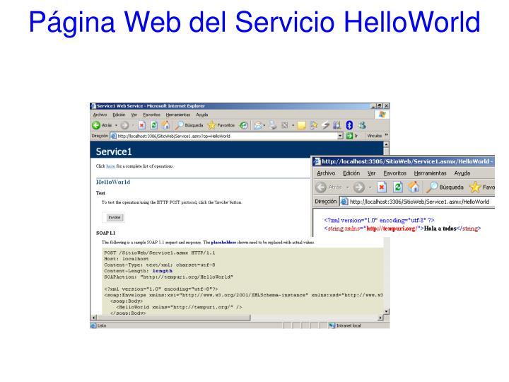 Página Web del Servicio HelloWorld