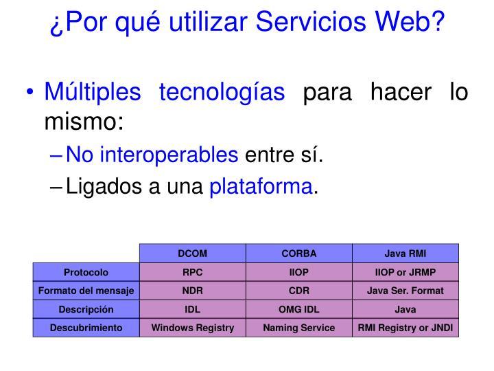 ¿Por qué utilizar Servicios Web?