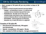 sw for 3d audio rendering