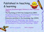 published in teaching learning