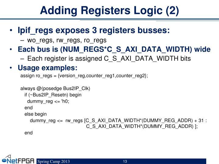 Adding Registers Logic (2)