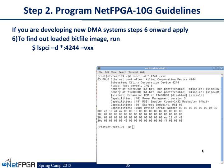 Step 2. Program NetFPGA-10G Guidelines