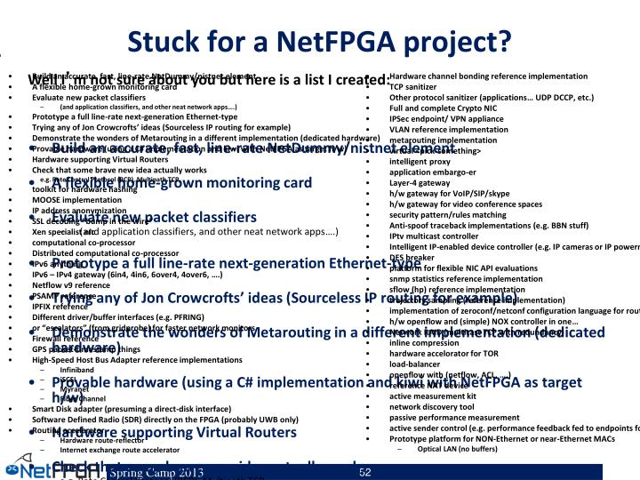 Stuck for a NetFPGA project?
