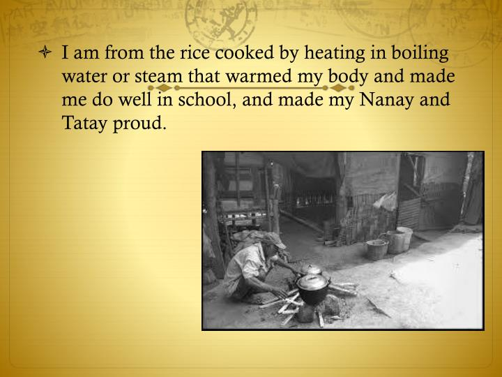 I am from the rice cooked by heating in boiling water or steam that warmed my body and made me do well in school, and made my Nanay and Tatay proud.
