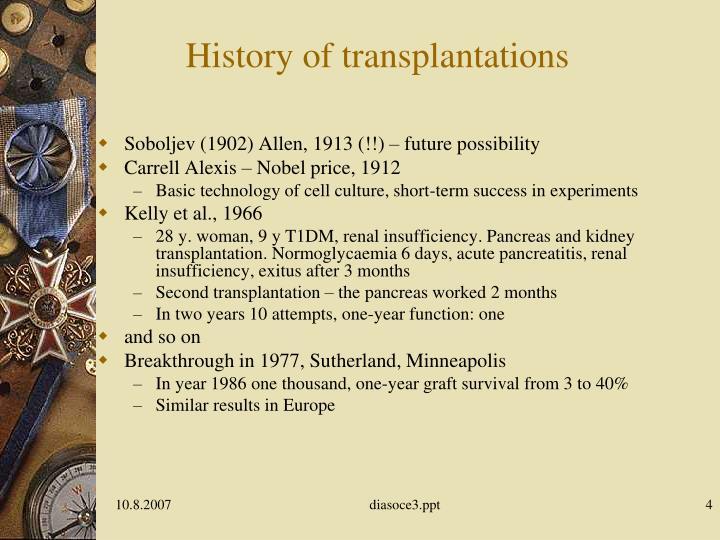 History of transplantations