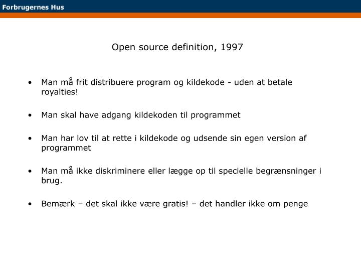 Open source definition, 1997