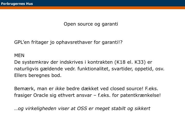 Open source og garanti