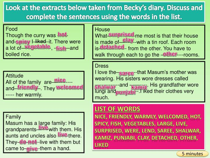 Look at the extracts below taken from Becky's diary. Discuss and complete the sentences using the words in the list.