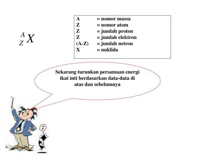 A= nomor massa