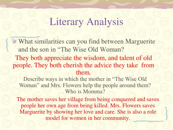 a literary analysis of mrs who Use the guidelines below to learn how to read a poem for further information you may wish to take the writing center workshop entitled intro to literary analysis.