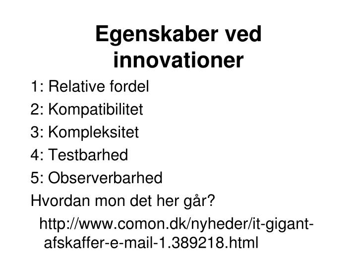 Egenskaber ved innovationer