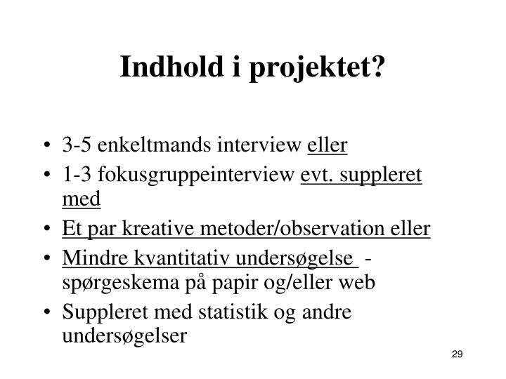 Indhold i projektet?