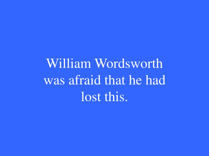 William Wordsworth was afraid that he had lost this.