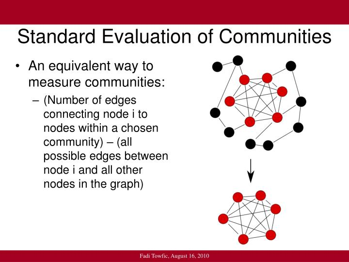 Standard evaluation of communities1