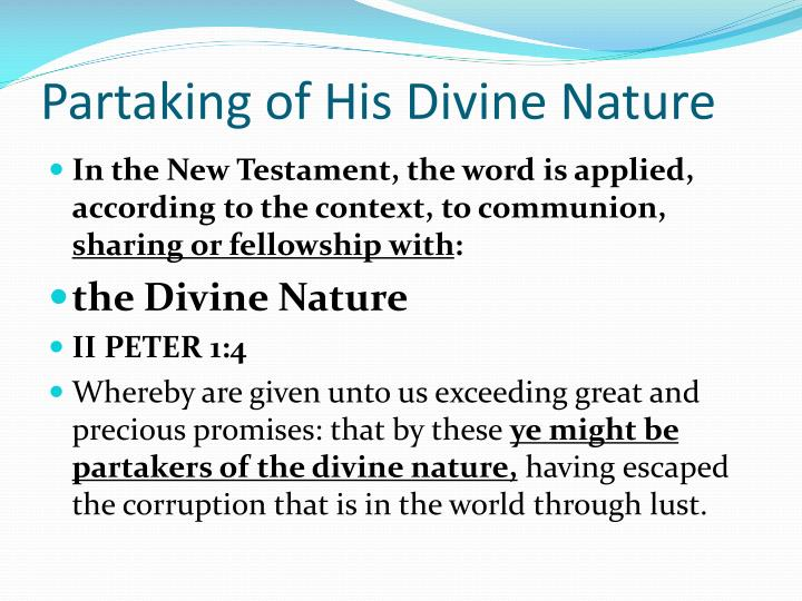 Partaking of His Divine Nature