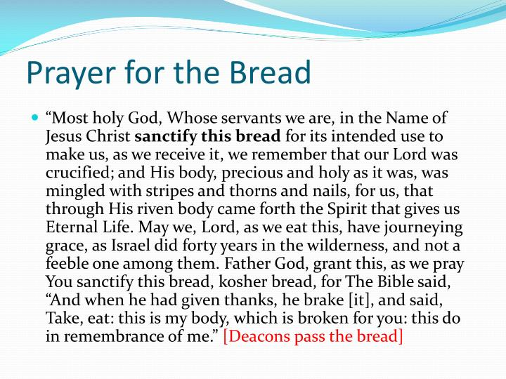 Prayer for the Bread