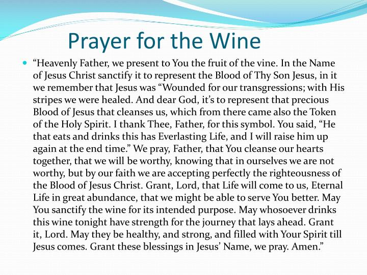 Prayer for the Wine
