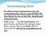 remembering christ